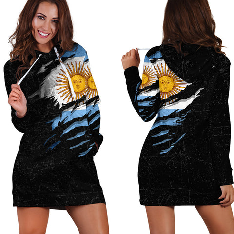 Argentina In Me Hoodie Dress - Special Grunge Style A31