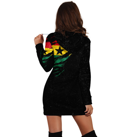Image of Ghana In Me Hoodie Dress - Special Grunge Style A31