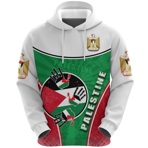 Palestine Independence Hoodie Circle Stripes Flag Proud Version Front | 1sttheworld