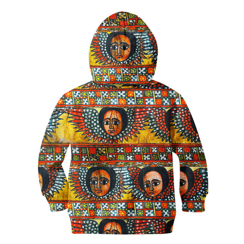 Image of Ethiopia Hoodie Kid Debre Birhan Selassie Church Pattern