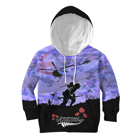 Anzac Day 2021 We Will Always Remember - Hoodie Kid A30