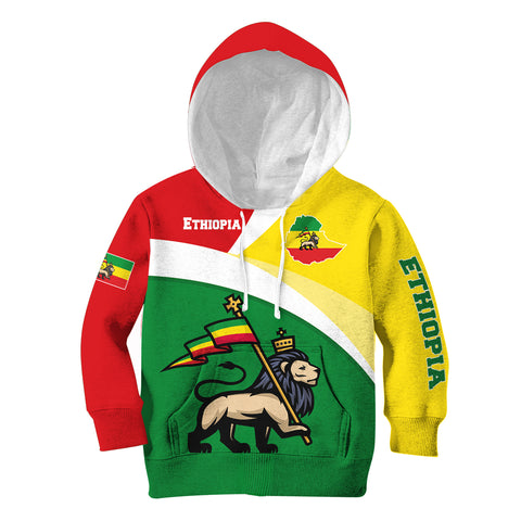 1stTheWorld Ethiopia Hoodie Kid, Ethiopia Flag Maps Green A10