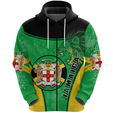 Image of Jamaica Lion Zip Hoodie Circle Stripes Flag Version Front | 1sttheworld