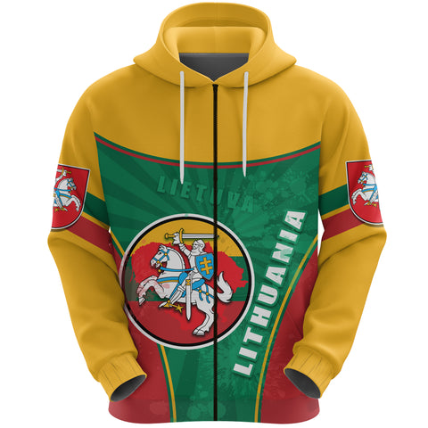 Lithuania - Lietuva Zip Hoodie Circle Stripes Flag Proud Version Front | 1sttheworld