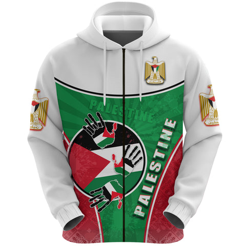 Image of Palestine Independence Zip Hoodie Circle Stripes Flag Proud Version Front | 1sttheworld