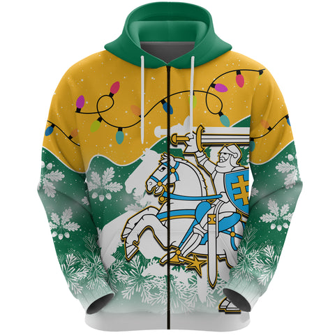 Lithuania Christmas Zip Hoodie Oak Leaves - Lietuva Front | 1sttheworld
