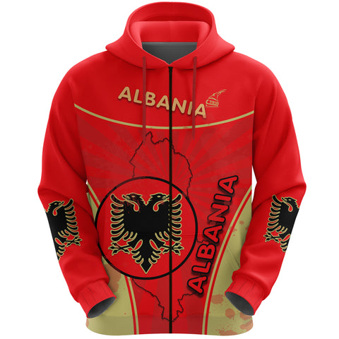 Albania Zip Hoodie Circle Stripes Flag Version Front | 1sttheworld