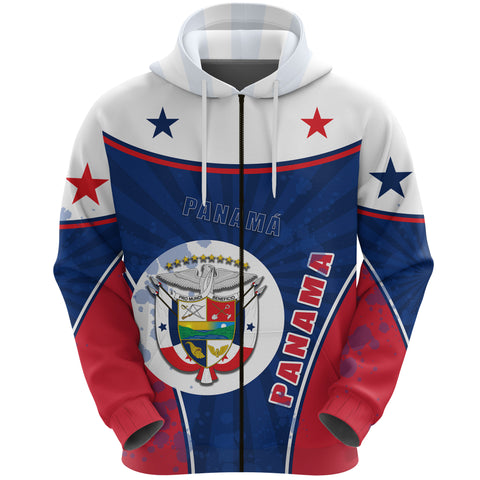 Panama Zip Hoodie Circle Stripes Flag Version Front | 1sttheworld.com