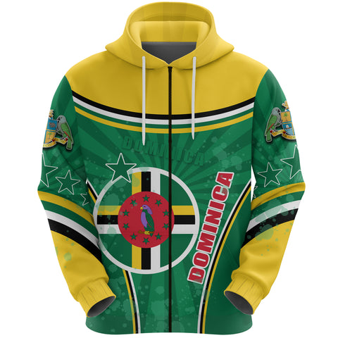 Dominica Zip Hoodie Circle Stripes Flag Version Front | 1sttheworld.com
