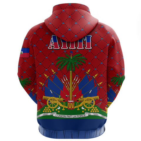 Haiti Zip Hoodie - Coat of Arms Hibiscus Plumeria Red A24