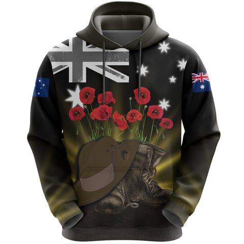 Image of Australia Anzac Day Hoodie -  Lest We Forget Hat And Boots Poppies A24