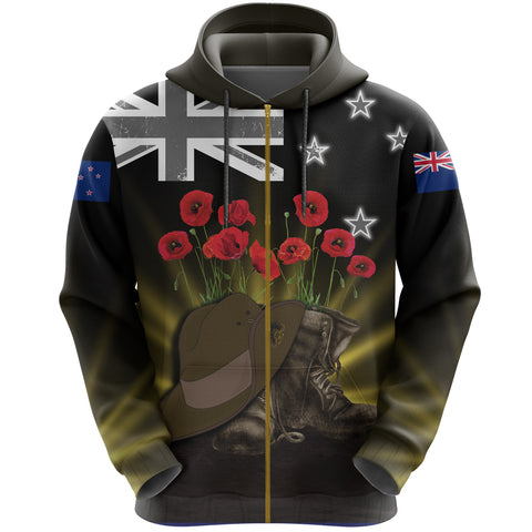 New Zealand Anzac Day Zip Hoodie - Lest We Forget Hat And Boots Poppies | Love The World