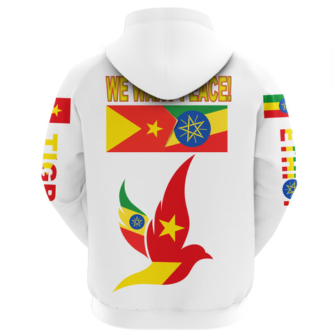 "Tigray and Ethiopia Flag ""We Want Peace!"" Zip Hoodie A27"