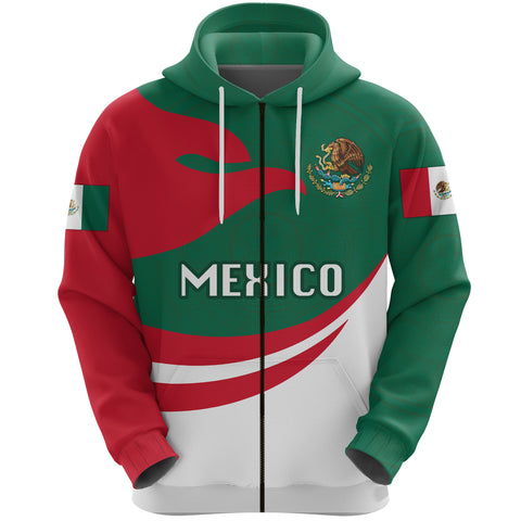 Mexico Hoodie Zip Proud Version Front | 1sttheworld