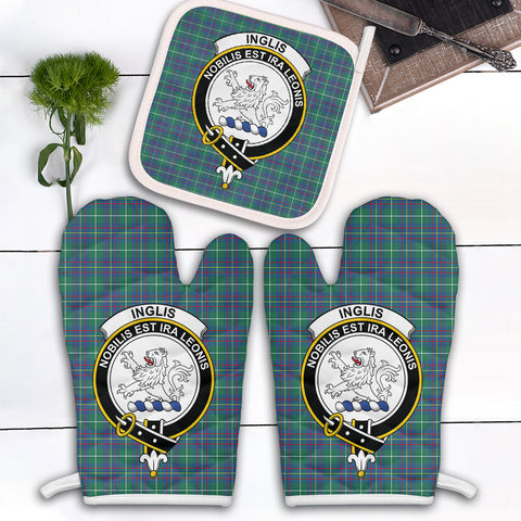 Image of Inglis Ancient Clan Crest Tartan Scotland Oven Mitt And Pot-Holder (Set Of Two)