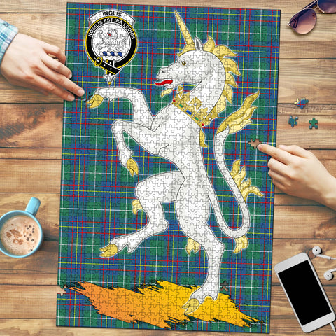 Image of Inglis Ancient Clan Crest Tartan Unicorn Scotland Jigsaw Puzzle