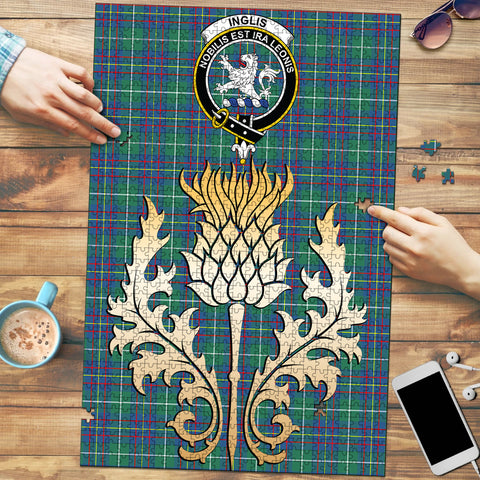 Inglis Ancient Clan Crest Tartan Thistle Gold Jigsaw Puzzle