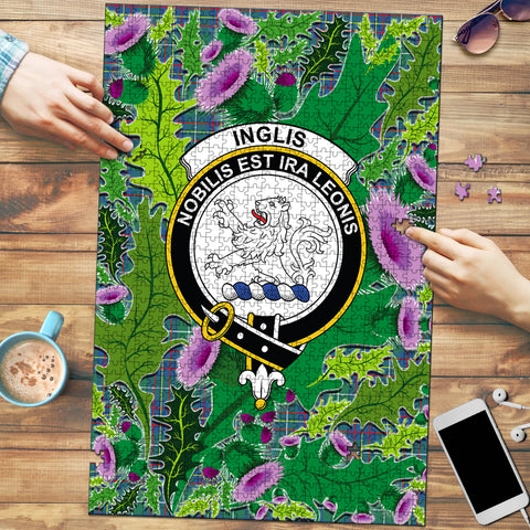Image of Inglis Ancient Clan Crest Tartan Thistle Pattern Scotland Jigsaw Puzzle