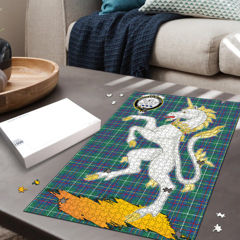 Inglis Ancient Clan Crest Tartan Unicorn Scotland Jigsaw Puzzle