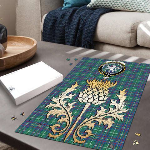 Image of Inglis Ancient Clan Crest Tartan Thistle Gold Jigsaw Puzzle