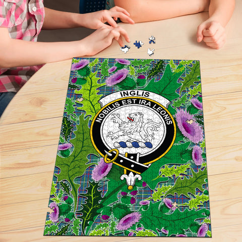 Inglis Ancient Clan Crest Tartan Thistle Pattern Scotland Jigsaw Puzzle