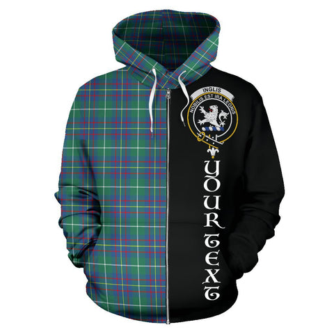 (Custom your text) Inglis Ancient Tartan Hoodie Half Of Me | 1sttheworld.com