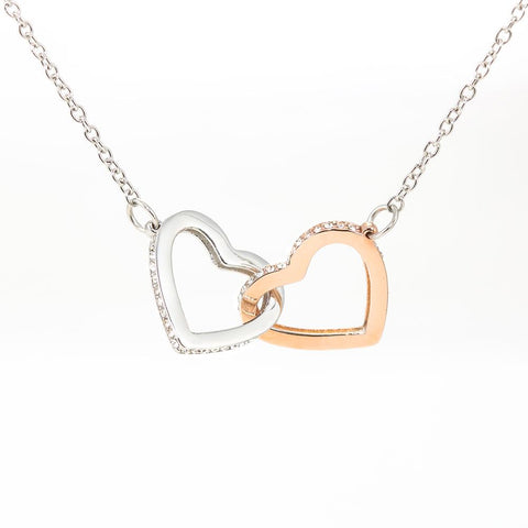 "Son to Mom: ""Best"" Interlocking Hearts Necklace A7"