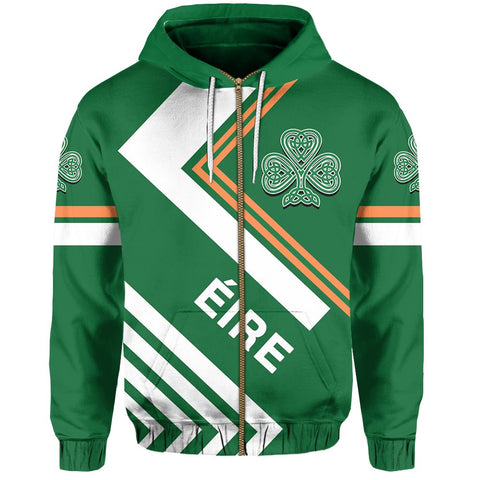 Irish Hoodie Zip - Flag European Nations Style
