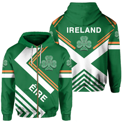 Ireland Hoodie Zip - Flag European Nations Style
