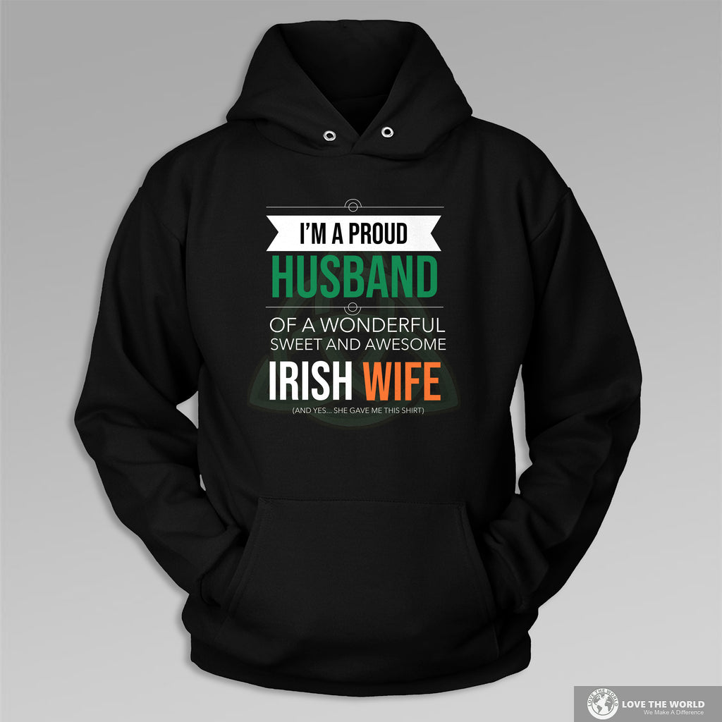 Proud Husband of Awesome Irish Wife Zip Hooded Sweatshirt