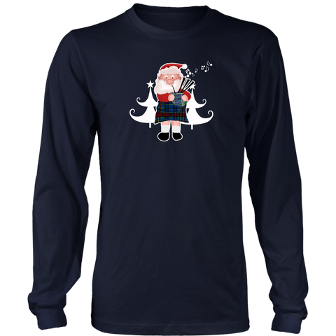 Image of Scottish Bagpipe Santa - Scotland Long Sleeve Tee A0