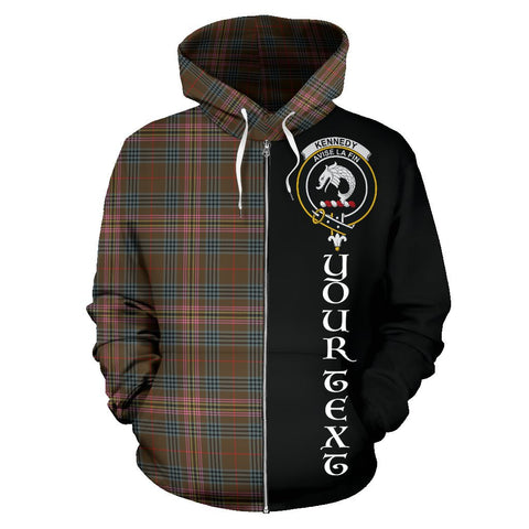 (Custom your text) Kennedy Weathered Tartan Hoodie Half Of Me | 1sttheworld.com