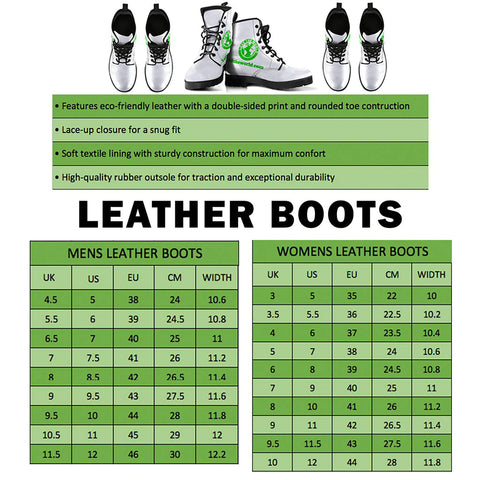 Shamrock Skillful Pattern Leather Boots H4