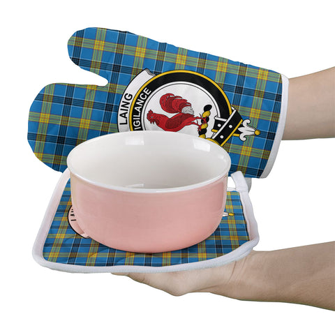 Laing Clan Crest Tartan Scotland Oven Mitt And Pot-Holder (Set Of Two)