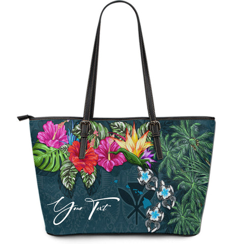 Image of (Custom) Kanaka Maoli (Hawaiian) Leather Tote - Hibiscus Turtle Tattoo Blue Personal Signature A02