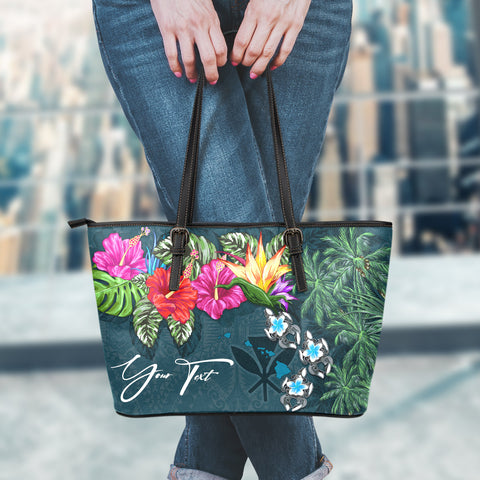 (Custom) Kanaka Maoli (Hawaiian) Leather Tote - Hibiscus Turtle Tattoo Blue Personal Signature A02