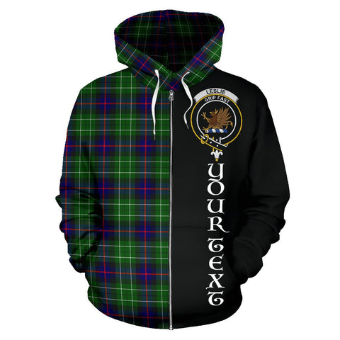 (Custom your text) Leslie Hunting Tartan Hoodie Half Of Me | 1sttheworld.com