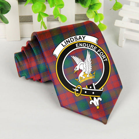 Lindsay Tartan Tie with Clan Crest TH8