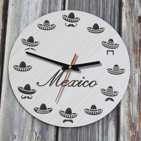 Mexico Traditional Hat Wooden Wall Clock, Mexico Wooden Wall Clock, Wooden Wall Clock, mexico