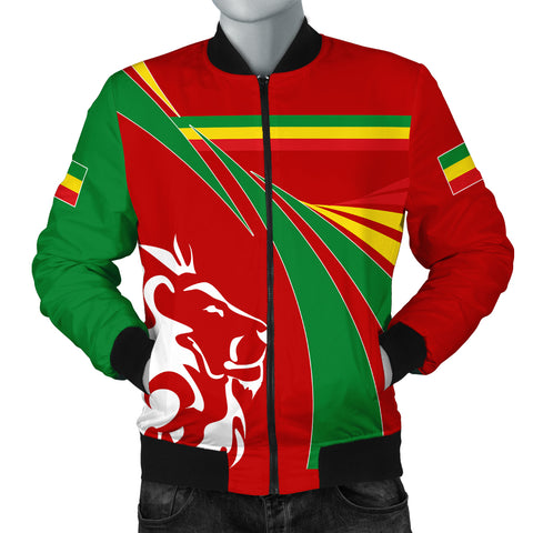 1stTheWorld Ethiopia Bomber Jacket, Ethiopia Swirly Lion Flag Men A10