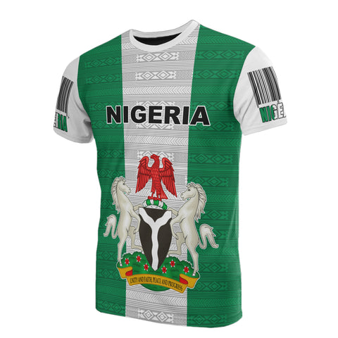 Image of Nigeria T-Shirt - Flag And Coat Of Arm