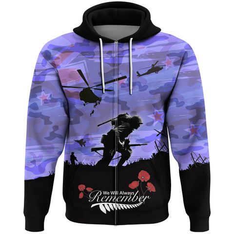 Anzac Day 2021 We Will Always Remember - Hoodie Zip A30