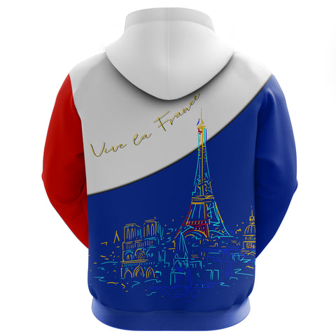 France Hoodie Zip - Paris Eiffel Flag