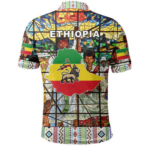 Image of Ethiopia Polo Shirt, Ethiopian Orthodox Flag 3 A10