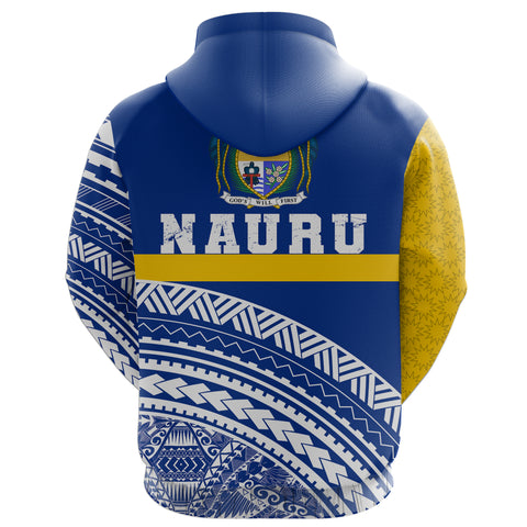 Nauru Zipper Hoodie Nauru Polynesian Coat Of Arms Zip-Up Hoodie TH5