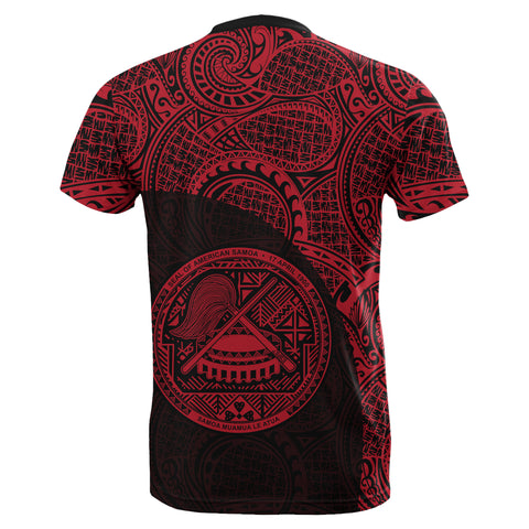 Image of American Samoa T-Shirt Coat Of Arms Polynesian Wave Red (Custom) TH5