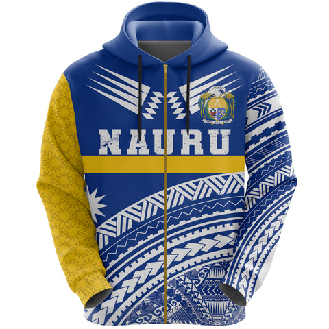 Image of Nauru Zipper Hoodie Nauru Polynesian Coat Of Arms Zip-Up Hoodie