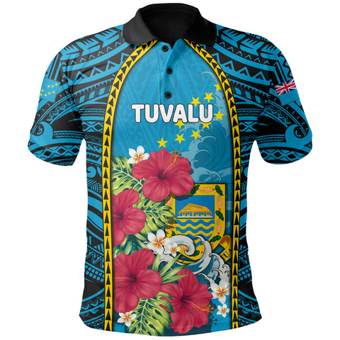 Tuvalu All Over Print Polo Shirt Coat Of Arms polynesian With Hibiscus And Waves TH65