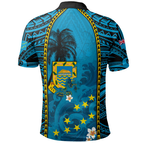 Image of Tuvalu All Over Print Polo Shirt Coat Of Arms polynesian With Hibiscus And Waves TH65