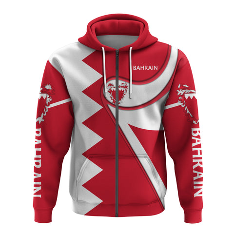 Bahrain Zip Hoodie - Flag Coloury Fashion TH5